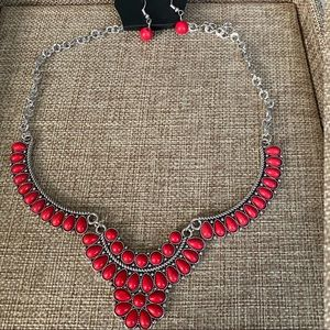 Omega Oasis Red Stone Necklace Set